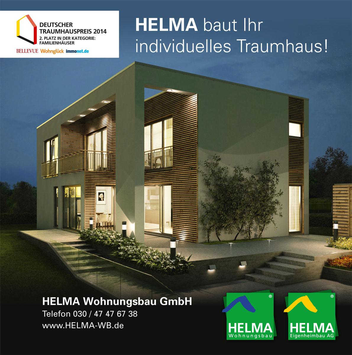 Helma Wohnungsbau - Baupartner des Monats August 2014