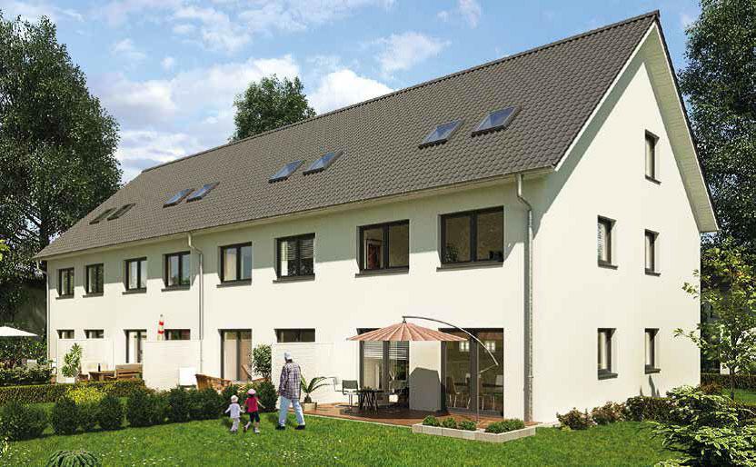 Gartenseite der Häuser im Baugebiet Tegel © HELMA Wohnungsbau GmbH