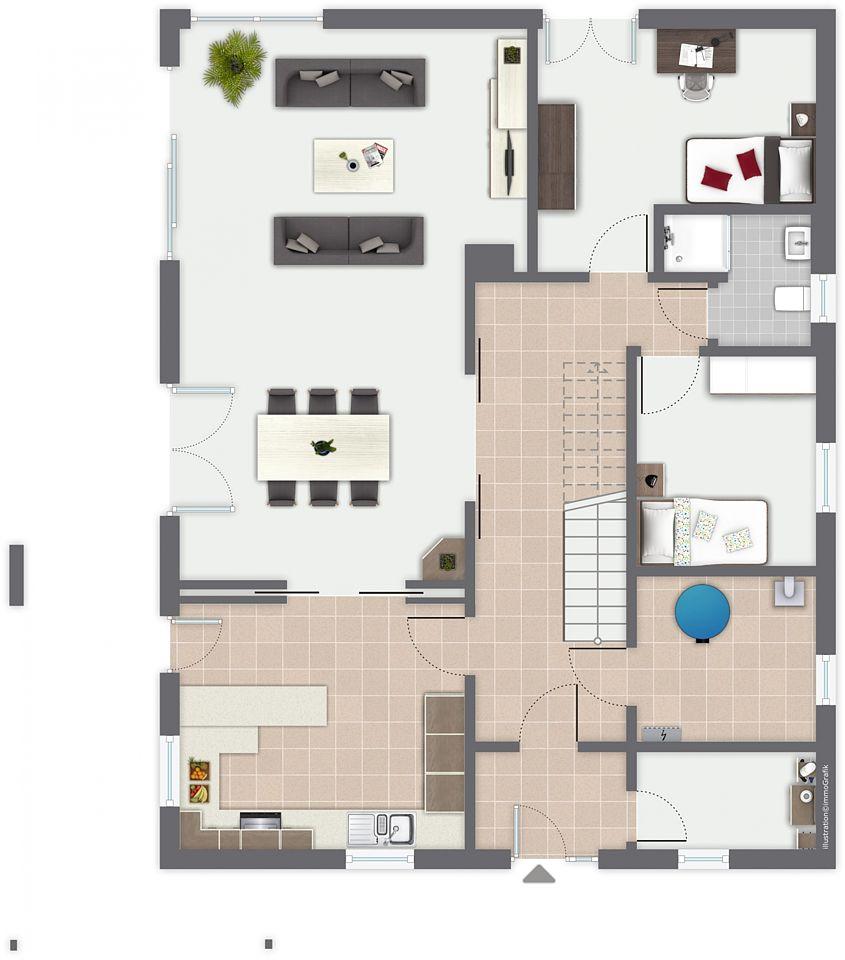 Familie Baut Mit Au-pair-Wohnbereich