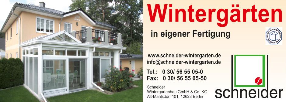 Schneider Wintergartenbau Anzeige
