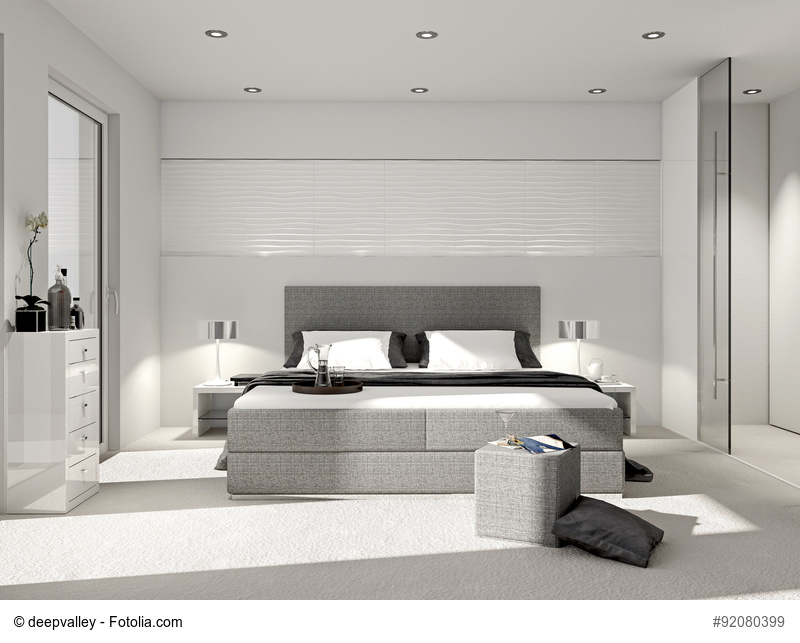 Modernes Schlafzimmer mit Boxspringbett Foto: deepvalley - Fotolia.com
