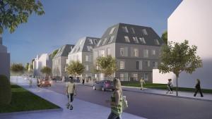 Visualisierung Straßenansicht bei Dämmerung Foto: Helma Wohnungsbau GmbH