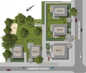Lageplan der fünf Stadtvillen Foto: Helma Wohnungsbau GmbH