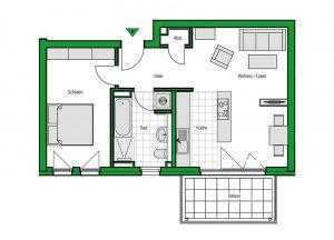 Grundriss einer Zweizimmerwohnung mit insgesamt 60 Quadratmetern Wohnfläche. Foto: HELMA Wohnungsbau GmbH