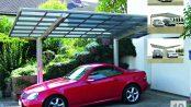 """Der Design-Carport """"Linea"""" aus eloxiertem Aluminium besticht nicht nur durch seine klare Formensprache, sondern ist auch äußert robust und langlebig. Mit Erweiterungs-Modulen kann Platz für zwei Autos geschaffen werden."""