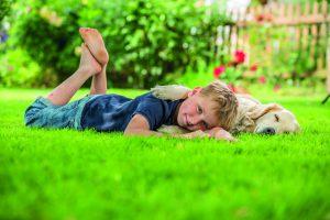 Widerstandsfähiger, dichter grüner Rasen ist eine Zier für jeden Garten. Wichtig sind ausreichend Nährstoffe und die richtige Pflege.Foto: Neudorff/txn