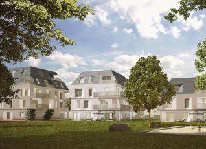 So wird das Gebäudeensemble nach Fertigstellung aussehen. Der anspruchsvollen Erhaltungssatzung gemäß wurden prägende Gestaltungsmerkmale der Umgebungsbebauung berücksichtigt. Grafik: HELMA Wohnungsbau GmbH