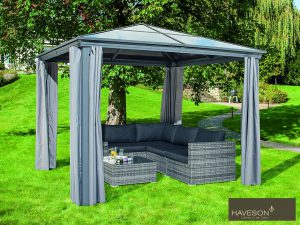"""Pavillons schaffen im Garten einen perfekten Platz zum Verweilen. Der Pavillon """"Norderney"""" von HAVESON ist ein echter Blickfang im Garten. Bild: Hellweg"""