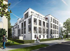 Attraktive Architektur zeichnet diesen Mehrgeschosser aus, den die HELMA Wohnungsbau GmbH in Potsdams Zentrum errichtet. Die Lage ist einmalig und wird Liebhaber städtischen Wohnens begeistern. Foto: HELMA Wohnungsbau GmbH