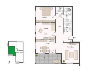 Großzügig bemessene 2 bis 4-Zimmer-Eigentumswohnungen. Wohnflächen von 78 bis 191 Quadratmetern bieten Raum für Familien, Singles und Individualisten. Hier das Beispiel einer Drei-Zimmer-Wohnung mit einladender Terrasse von 14 Quadratmetern. Grafik: HELMA Wohnungsbau GmbH
