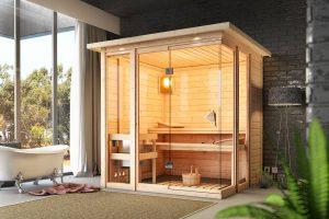Entspannte Stunden im persönlichen Spa: Durch ihre Klarglas-Front bietet die Sauna Paavo von Karibu einen besonders hellen Innenraum. Bild: HELLWEG
