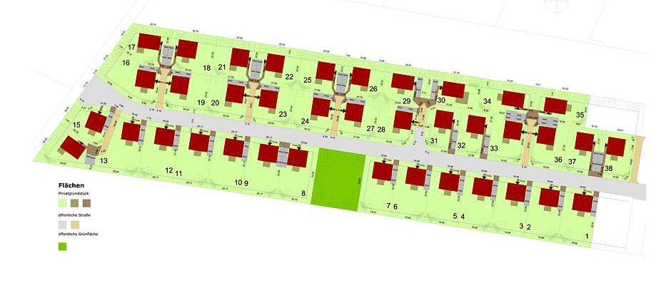 """Im neuen Quartier """"Zur alten Mühle"""" errichtet HELMA 38 frei geplante Einfamilienhäuser auf Grundstücken zwischen 507 und 750 Quadratmetern. Grafik: HELMA Wohnungsbau GmbH"""