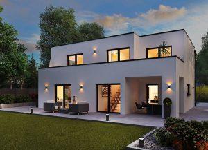 """Die künftigen Bewohner des Wohnparks """"Wiesenblick"""" können sich für einen individuellen Entwurf entscheiden – die offene Planung des Baugebietes lässt auch Architektur im Bauhausstil zu. Hier der HELMA-Entwurf """"Haus Weimar"""". Grafik: HELMA Wohnungsbau GmbH"""