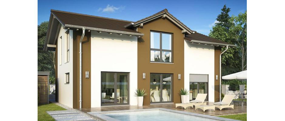 """Im neuen HELMA-Wohnpark in Dallgow-Döberitz ist Zweigeschossigkeit vorgeschrieben. Das """"Haus Trient"""" zeichnet sich durch einen großen Zwerchgiebel aus, der lichtes Wohnen möglich macht. Besondere Akzente setzt die zweifarbige Putzfassade, wahlweise sind statt des braunen Putzes auch andere Farben oder Klinker möglich. Grafik: HELMA Wohnungsbau GmbH"""
