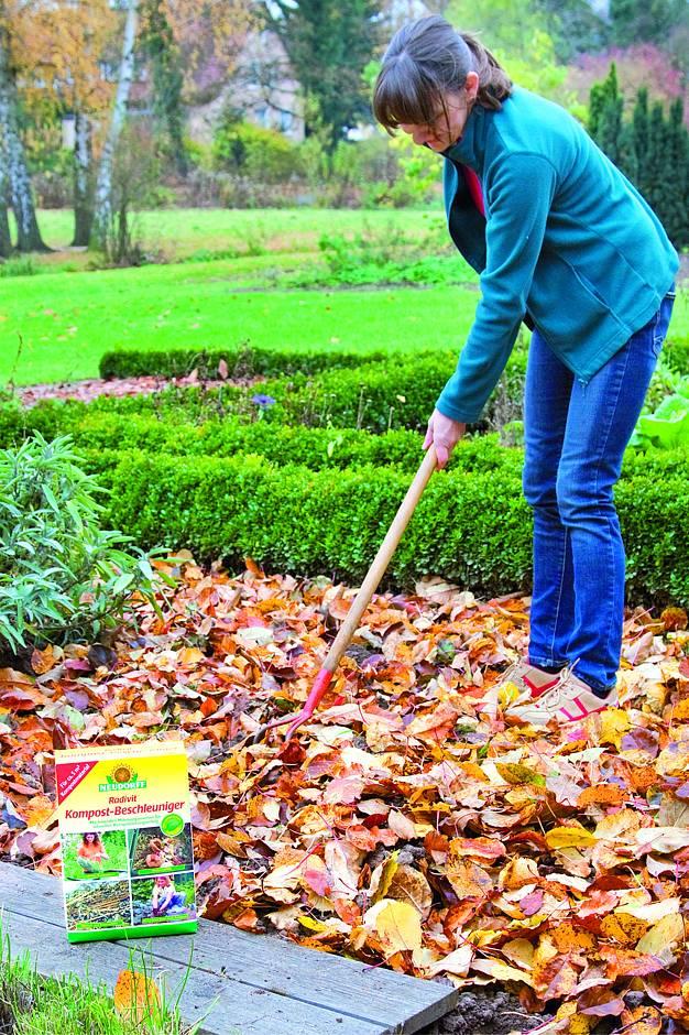 Flächenkompostierung statt Biotonne: Zersetztes Laub versorgt die Beete mit wertvollen Nährstoffen. Foto: Neudorff/txn