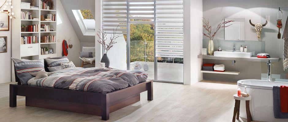 """Alles in einem: Beim Wohntrend """"Bad en suite"""" gehen der Schlafbereich und das Badezimmer fließend ineinander über. Foto: djd/Knauf Bauprodukte"""