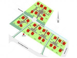 """Lageplan des HELMA-Wohnparks im """"Komponistenviertel"""" in Mahlow am südlichen Stadtrand von Berlin. 26 Grundstücke für Einfamilienhäuser werden dort angeboten. Der Verkaufsstart erfolgte zu Ostern. Grafik: HELMA Wohnungsbau GmbH"""