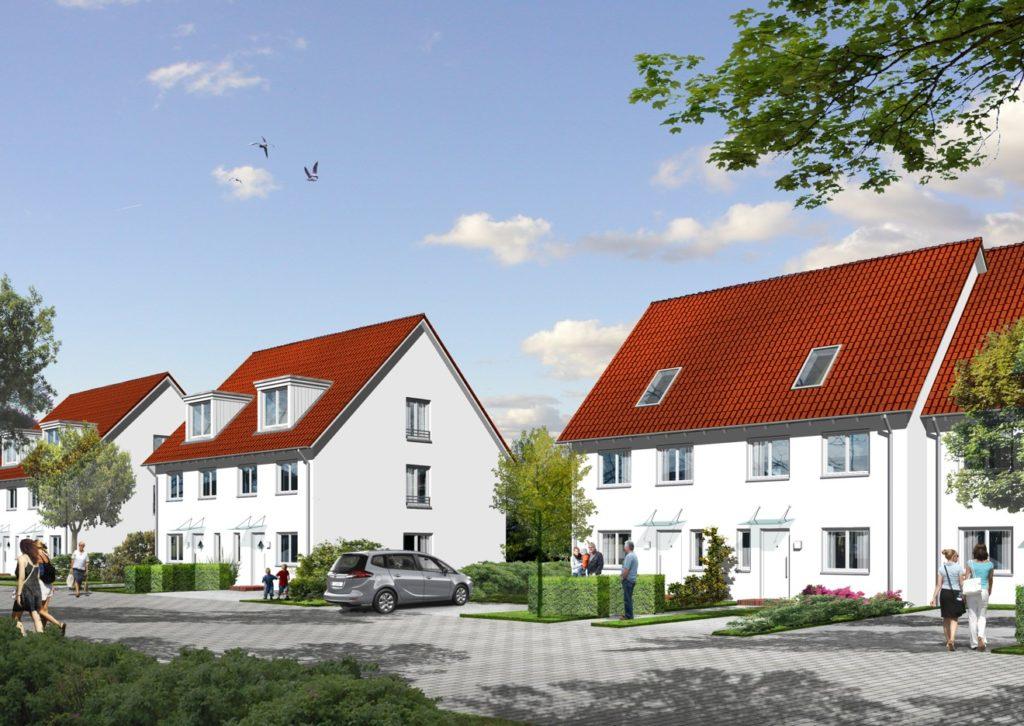 Doppelhäuser und Reihenhäuser im PrinzenQuartier in Königs Wusterhausen Foto: HBB