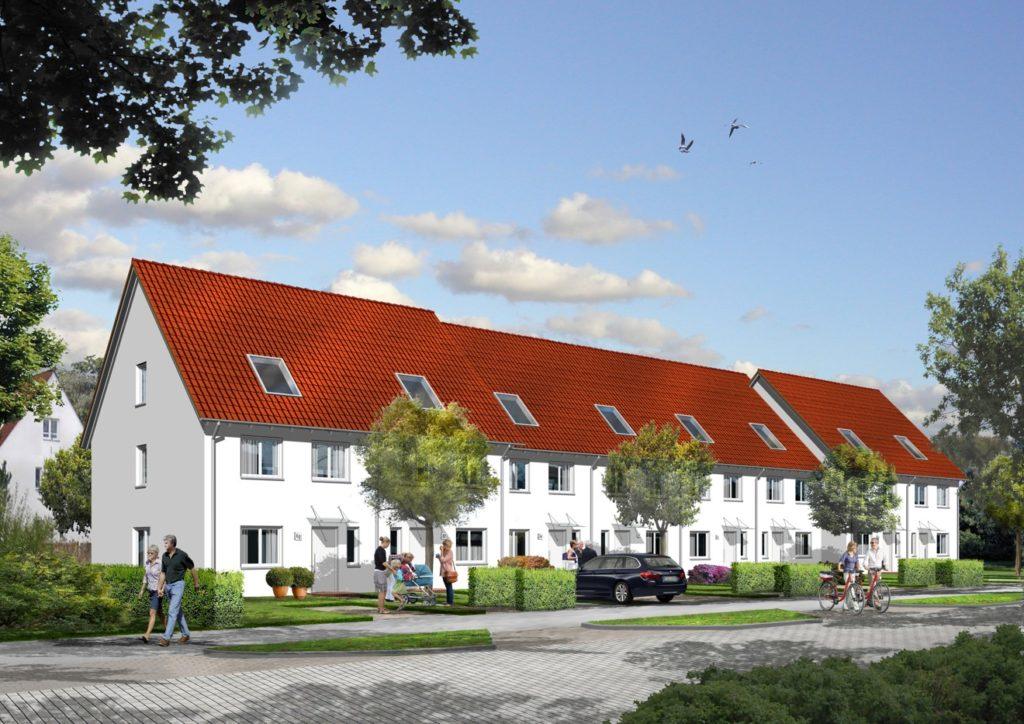 Reihenhäuser im PrinzenQuartier in Königs Wusterhausen Foto: HBB