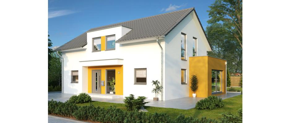 """Geradlinig, aber sympathisch in Szene gesetzt durch farbige Akzente: der neue HELMA-Entwurf Haus """"Colmar"""". Im Fassadenbereich setzten die Planer gekonnt Ocker in Szene. Das Familienhaus verfügt über 171 Quadratmeter Wohnfläche und gehört zur neuen HELMA-Kollektion für 2018."""