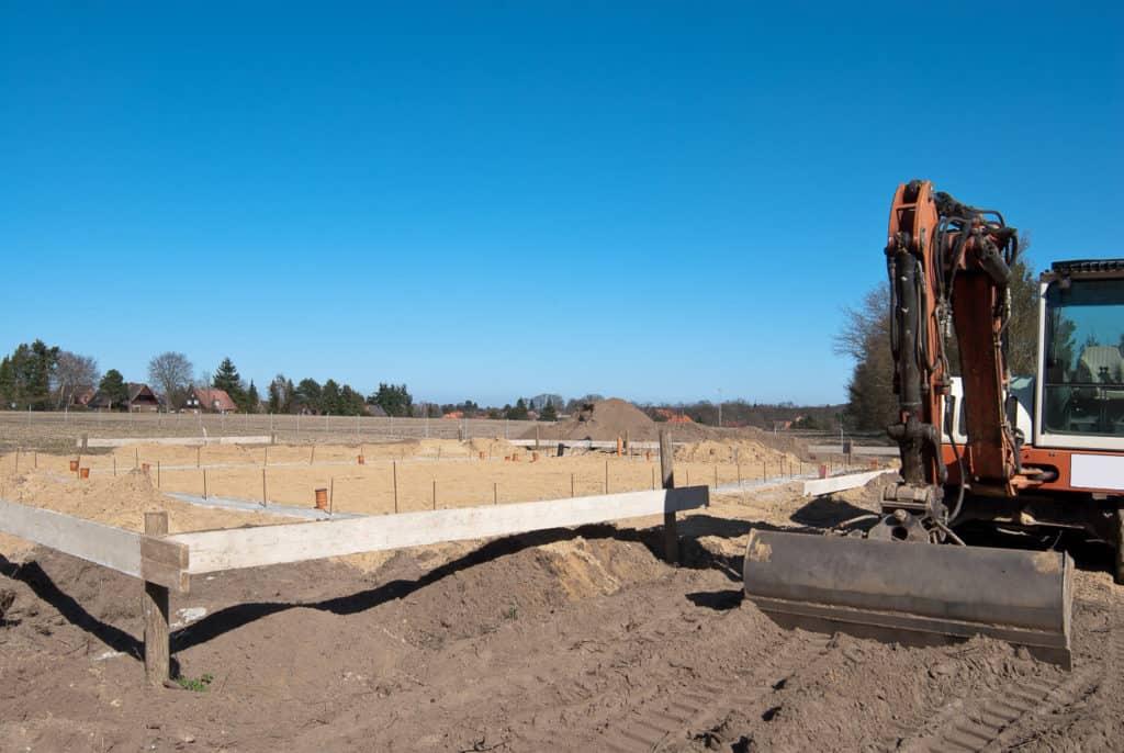 Bodenaushub für die Herstellung des Fundaments