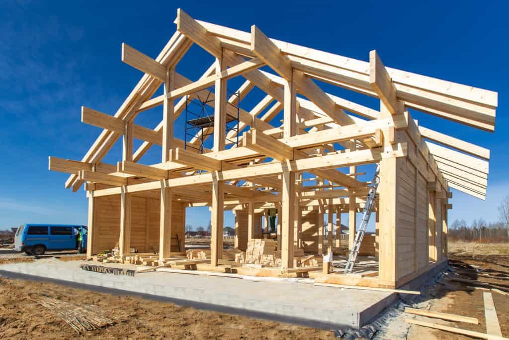 Rohbaukonstruktion Holzhaus