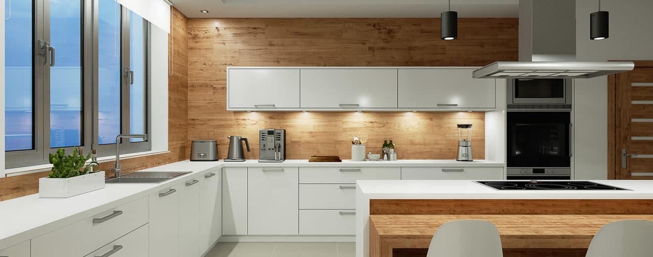 Beleuchtung in weißer Küche mit Essbereich bei Nacht