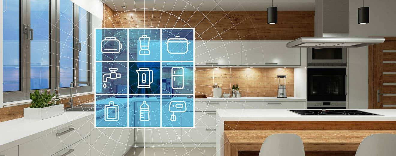 Moderne Küche mit Smart Home Technologie