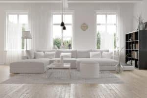 Modernes Wohnzimmer mit Beleuchtung