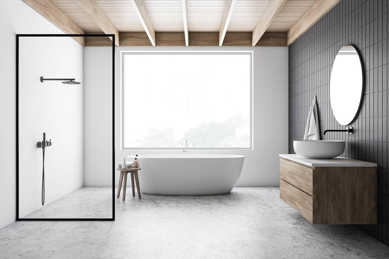 Moderne Badgestaltung in schwarz weiß – www.immobilien journal.de