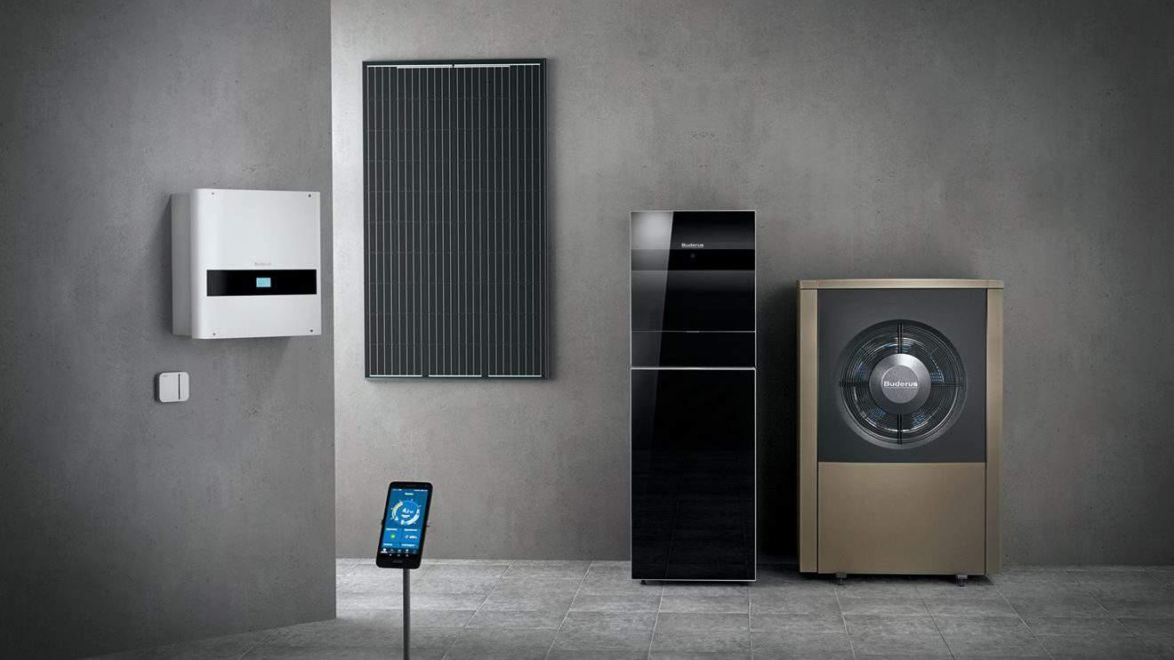 Alles aus einer Hand: Buderus liefert sowohl die Hardware wie Wärmepumpe und Photovoltaikanlage als auch die Energiemanagementsoftware MyEnergyMaster. © Buderus
