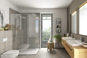 Dusche mit Duschwanne