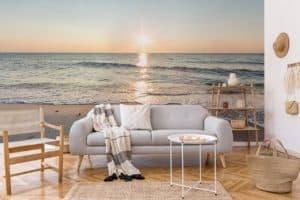 Fototapete Meer und Strand im Boho-Wohnzimmer