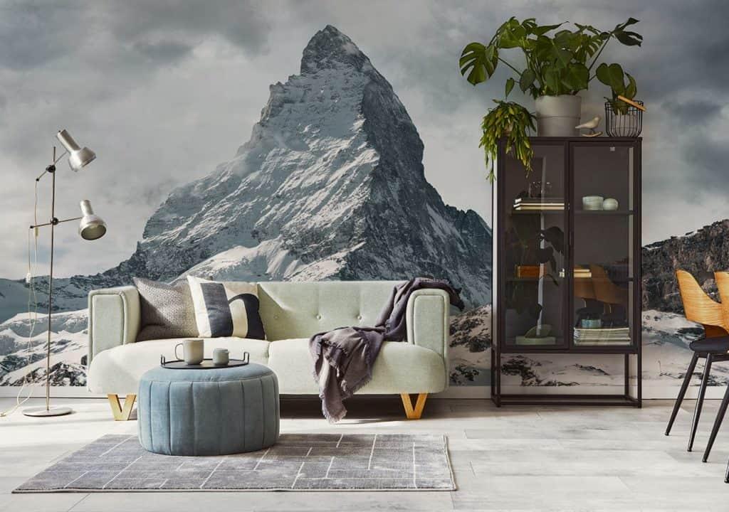 Wohnzimmer mit Fototapete Gipfel im Bergen unter Schnee